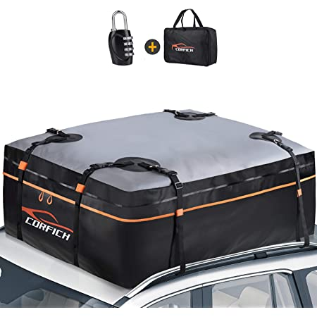 CORFICH Car Rooftop Cargo Carrier, 15 Cubic Feet Waterproof Roof Rack Cargo Carrier with Free Lock+8 Reinforced Straps + 4 Door Hooks Suitable for All Vehicle with/Without Rack (Orange)
