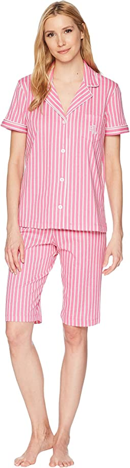 LAUREN Ralph Lauren - Short Sleeve Notch Collar Bermuda Shorts PJ Set
