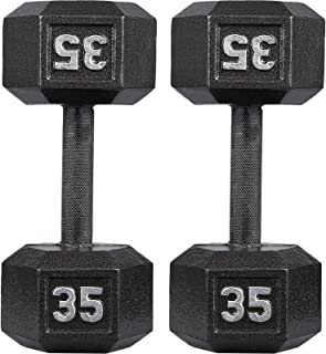 papababe Cast Iron Dumbbells, Free Weights Hex Dumbbells with Hammer Coating, Multi-Select Weights Available, Solid (Black)