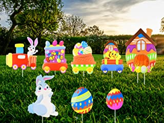 Unomor 8 Pack Easter Outdoor Decorations Easter Yard Signs with Easter Eggs, Bunny, Chick for Easter Yard Lawn Decorations...