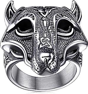 خاتم من الستانلس ستيل للرجال بتصميم محفور مخصص لمطرقة ثور وراس ذئب والفايكينج ومحاربي فالكونت من فايث هارت