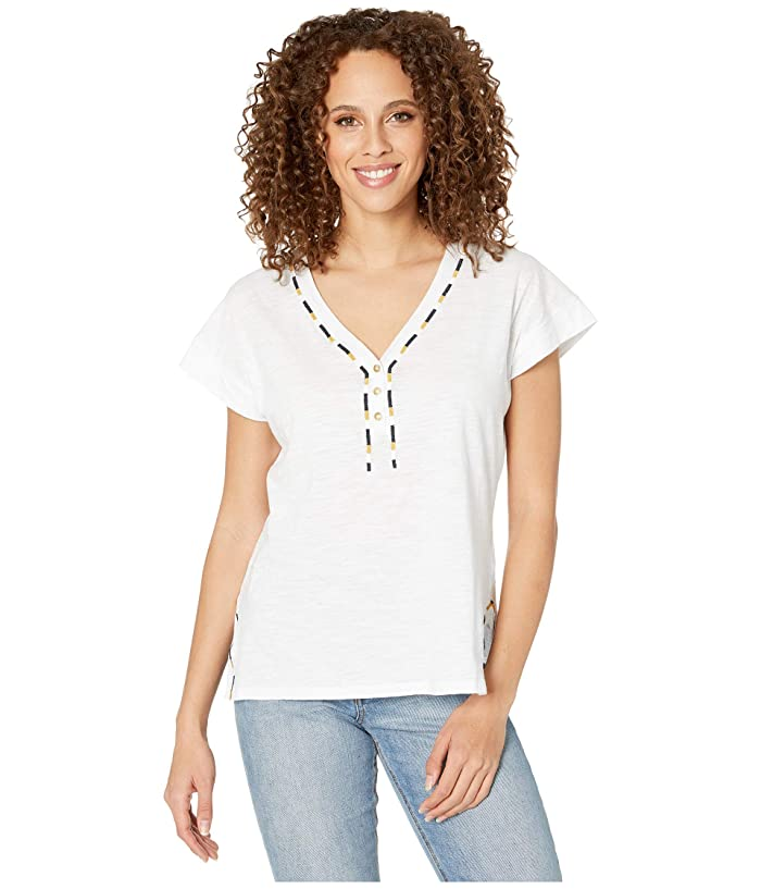Caftan Knit Tee (White) Women's Clothing