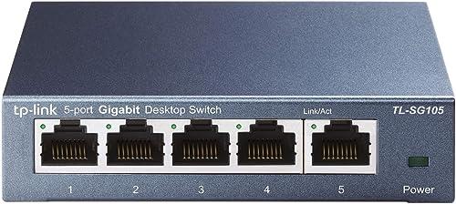 TP-Link Switch Ethernet (TL-SG105) Gigabit 5 RJ45 ports metallique 10/100/1000 Mbps, idéal pour étendre le réseau câb...