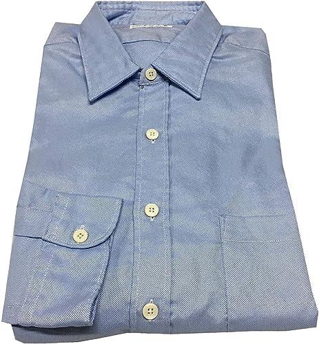 DepartHommest 5 Chemise Homme avec Poche Oxford Céleste 100% Coton Made in  vestibilité Slim