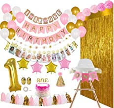 REIGNDROP 1st Birthday Girl Decorations and Party Supplies 133 Pcs - First Birthday Banners for Highchair, Balloons, 12 Mo...
