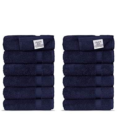 Chakir Turkish Linens Hotel & Spa Quality, Highly Absorbent 100% Turkish Cotton Washcloths (12 Pack, Navy)