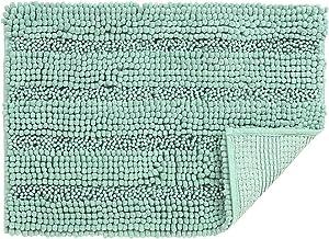 uxcell 17 x 24 Inch Super Thick Soft Striped Shaggy Chenille Bath Mats Machine Washable Floor Bath Rugs for Bathroom, Non-...