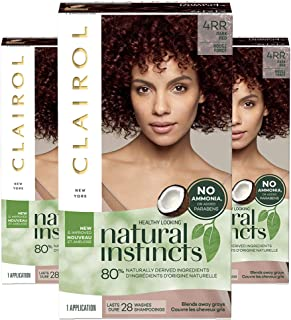 Clairol Natural Instincts Semi-Permanent, 4RR Dark Red, Sweet Cherry, Pack of 3
