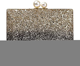 Clutch Handbag Sequin Crossbody Bag Gold Banquet Shoulder Bags Woman Silver Pearl Wallet Evening Dress Cosmetic Bag Shining Dress Pocket (21×4×12cm)