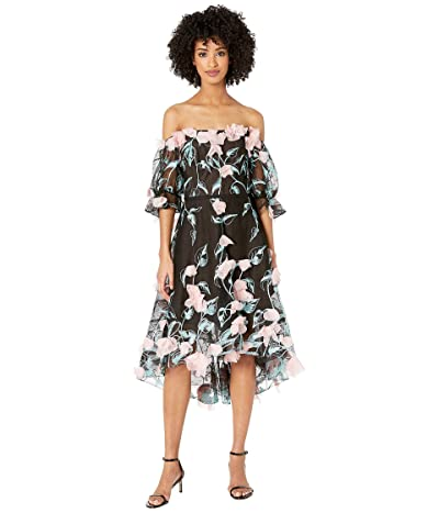 Marchesa Notte Off the Shoulder 3D Floral Embroidered Cocktail with Blouson Sleeve and Trims (Black) Women