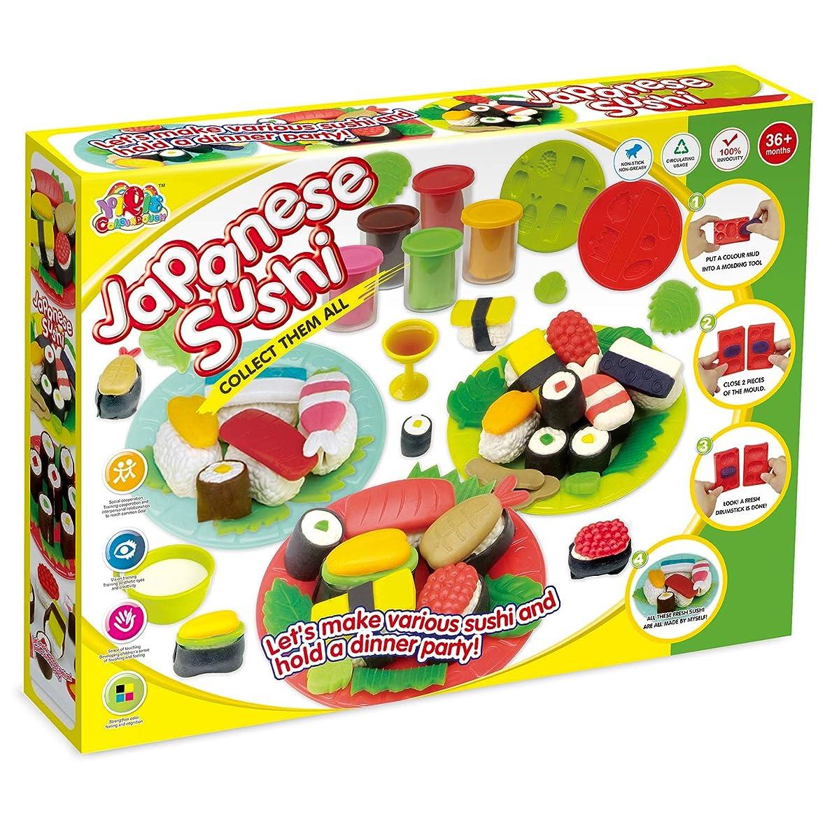 暖かくスクリュースティックねんど おすし屋さんセット Sushiシリーズおもちゃ プラスチシン 粘土DIYセット 8色ねんどセットおままごと 知育玩具