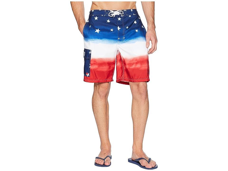 Polo Ralph Lauren Watercolor Flag Ombre Kailua Swim Trunk (Watercolor Red/White/Blue Ombre) Men