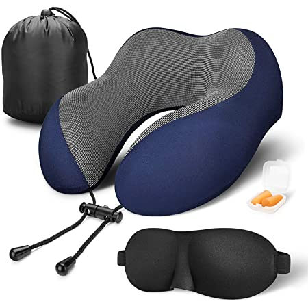 MLVOC Travel Pillow 100% Pure Memory Foam Neck Pillow, Comfortable & Breathable Cover, Machine Washable, Airplane Travel Kit with 3D Contoured Eye Masks, Earplugs, and Luxury Bag, Standard (Blue)