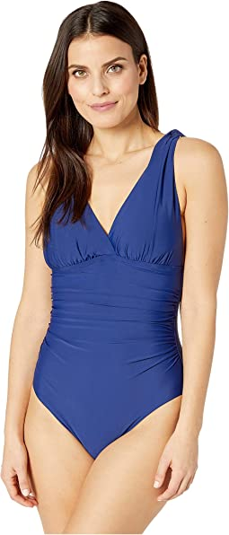 Solid Over the Shoulder Surplice One-Piece