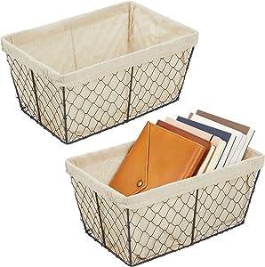 mDesign Metal Farmhouse Home Storage Organizer Basket - Chicken Wire Design, Fabric Liner - for Kitchen, Bathroom, Living Room, Pantry, Cupboard, Shelves, Countertop - Medium, 2 Pack - Bronze/Natural