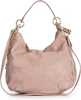 Womens Large Slouch Shoulder Handbag with Long Adjustable Strap - Ideal for Shopping Weekends College or Nappy Bag - GINA (Pale Pink)