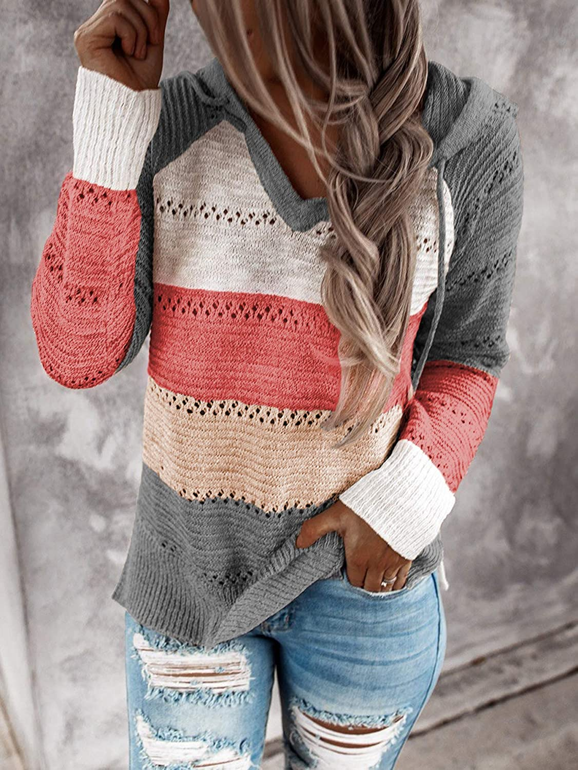 Womens Stripes Color Block Knit Hoodies Sweaters Lightweight Drawstring Loose Pullover Sweatshirts