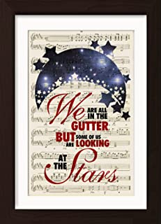 Oscar Wilde We Are All In The Gutter But Some Of Us Are Looking At The Stars Mounted / Matted Ready To Frame Dictionary Art Print