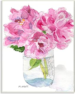 Stupell Industries Pink Peonies in Classic Canning Jar, Design by Melissa Hyatt LLC Wall Plaque, 13 x 19