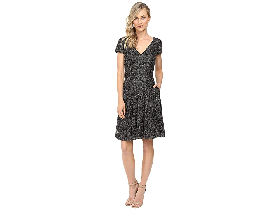 Badgley Mischka All Over Beaded Fit and Flare with Pockets (Smoke) Women