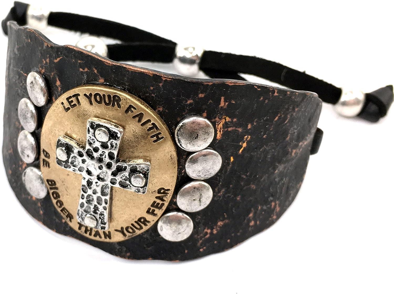 Western Peak Western Hammered Plate Cross Faith Verse Leather Cuff Bracelet