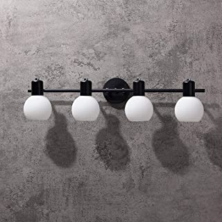 Jiuzhuo Cottage Style White Glass Globe Shades Bath Vanity Light & Adjustable Head (Black, 4-Light)