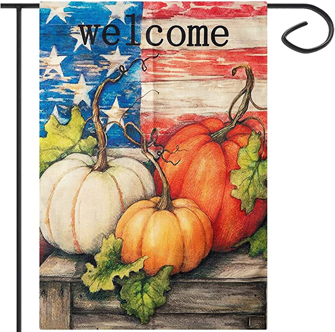 Apipi 18 X 12 Inch Welcome Fall Garden Flag Double Sided Patriotic Decorative Thanksgiving Autumn Harvest Pumpkin House Flag Rustic Country Burlap Garden Yard Flag For Home Seasonal Outdoor Decor Garden Outdoor Amazon Com