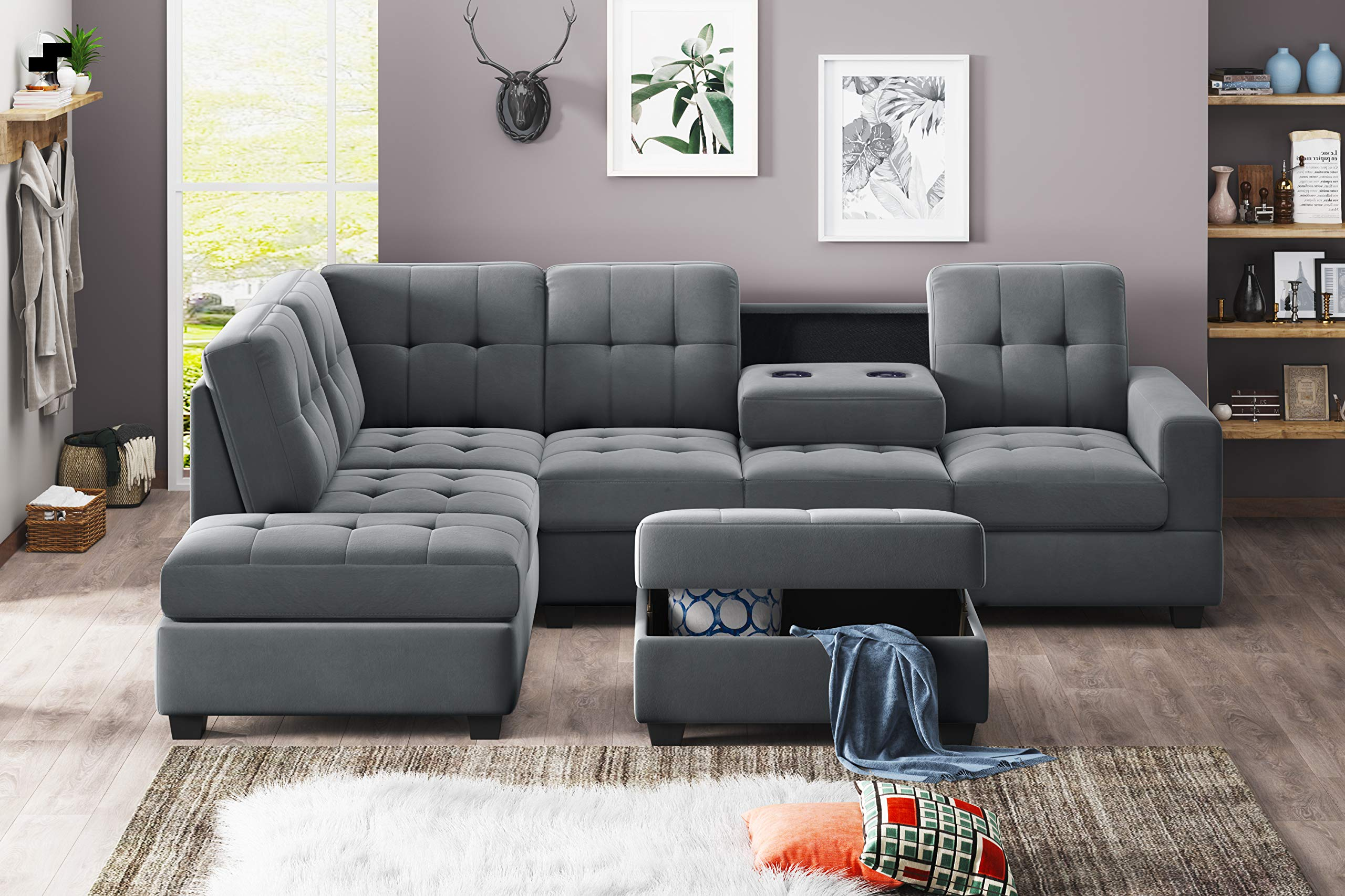 UNIROI Modern Microfiber Sectional, L-Shaped Couch Sofa with Reversible Chaise Lounge Storage Ottoman and Cup Holders Furn...