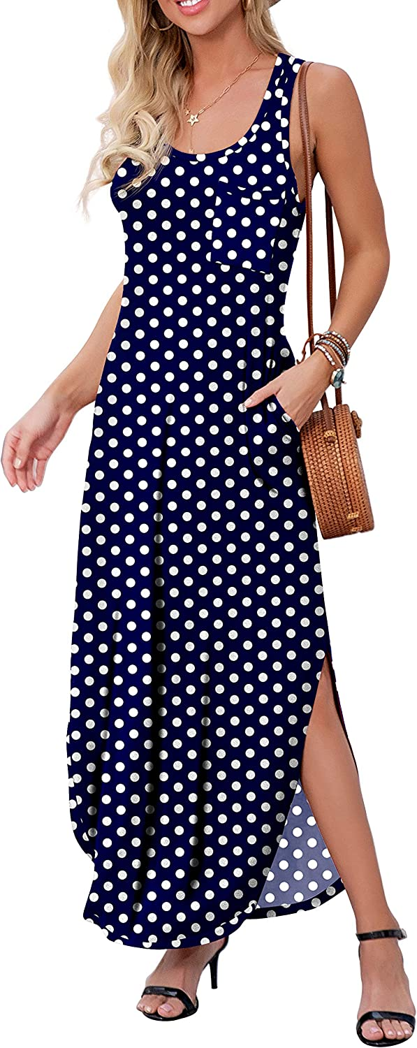 GRECERELLE Women's Sleeveless Summer Long Cover Up Slit Casual Floral Print Maxi Dresses with Pocket