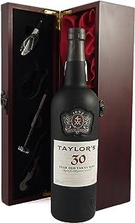 """Taylor""""s 30 year old Tawny Port 1990 75CL in einer mit Seide ausgestatetten Geschenkbox. Da zu vier Wein Zubehör, Korkenzieher,Giesser,Kapselabschneider,Weinthermometer 1x750ml"""