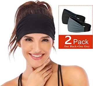 Non-Slip Headband for Women -Silicone Grippy Sweatband & Sports Headband for Workout, Running, Crossfit, Yoga Bike Helmet Friendly, Performance Stretch & Moisture Wicking
