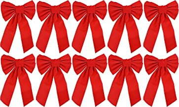 Red Velvet Christmas Bow 9-inch X 16-inch, 10 Pack of Holiday Bows