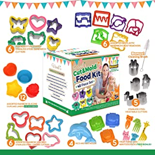 Vanli's Kids Bento Lunch Box | 45 Pcs in 1 Set| Includes Sandwich Crust, Vegetable & Small Cookie Cutters, Silicon Cupcake & Rice Molds, Fruit Forks, Picks & Cleaning Brush