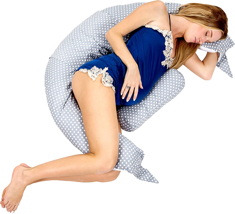 Koala Babycare V-Shaped Pregnancy Pillow for Sleeping and Breastfeeding - Maternity and Nursing Pillow - Proper Support for Mom During Feeding, Sitting – 100% Cotton Cover – Koala Hugs Plus