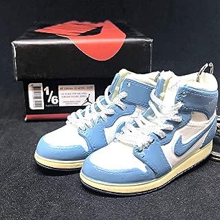 Pair Air Jordan I 1 Retro High UNC Carolina Powder Blue White Vintage OG Sneakers Shoes 3D Keychain Figure + Shoe Box