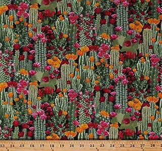 Cotton Cactus Cacti Prickly Pear Plants Floral Desert Flowers Succulents Nature Landscape Southwestern Cotton Fabric Print by The Yard (WEST-C6178-CACTUS)