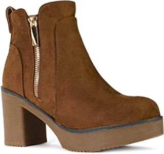 RF ROOM OF FASHION Women's Chunky Platform Heel Ankle Boots Bootie TAN SU Size.10