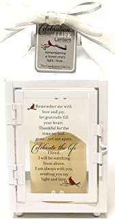 Celebration of Life Memorial Lantern with Flickering LED Candle-Thoughtful Bereavement/Sympathy Gift for Loss of Loved One (White)