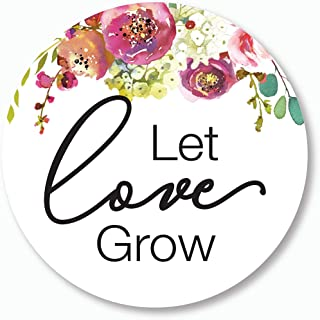 Let Love Grow Stickers, Love is Blooming Wedding and Bridal Shower Event Favor Labels (#379-014GR)