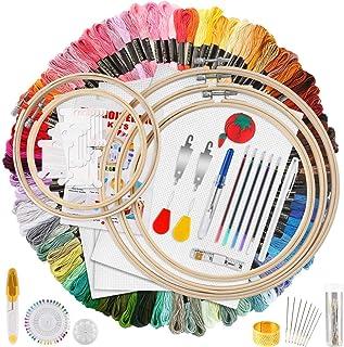 MAKEASY 205 PCS Stickerei Set,Stickerei Starter Kit, 100 Farbfäden, 40 Nähnadel, 3 PCS Aida Tuch, 5 PCS Bambus Stickrahmen, Kreuzstich Tools für Erwachsene und Kinder Anfänger