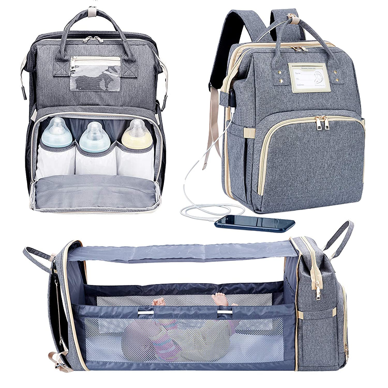 WASHWOW diaper bag backpack 3 in 1 baby boy with changing table, waterproof baby bag, travel bassinet with USB charging port and sun visor (gray)