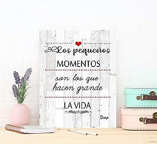 DCine Cuadro Frases/Frases positivas/Cuadro Madera/Regalo/Normas del hogar/Normas de la casa/Carteles Vintage/ 19 cm x 25 ...