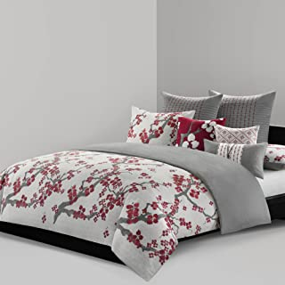 N Natori Cherry Blossom Duvet Cover King Size - Red, Grey , Cherry Blossom Duvet Cover Set – 3 Piece – 100% Cotton Sateen Light Weight Bed Comforter Covers