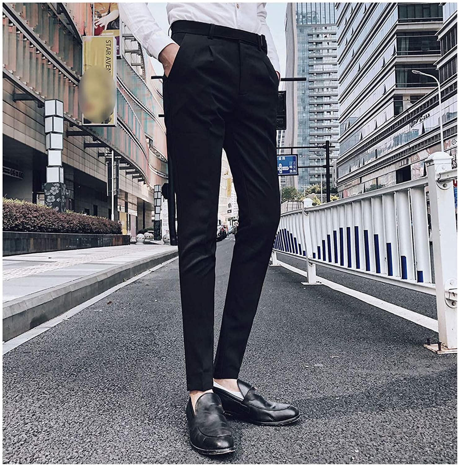 Junming Department Store Male HighGrade Solid color Brown Trousers Slim Fit Busis Suit Pants Suit Trousers Coume