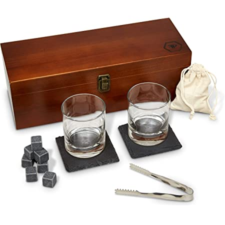 Fine Pursuits Whiskey Glass Set - Whiskey Stones - Bourbon Glass Bar Set, 8 Whiskey Rocks and 2 Stone Coasters - Bar Accessories for Men, Fathers Day, Groomsmen, Dad, Birthday, Husband and Boyfriend