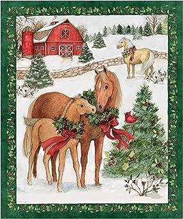 Susan Winget Christmas Two Horses Panel Multi Fabric