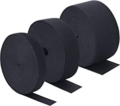 Sunmns 3 Rolls Sewing Stretch Elastic Band Spool, 3/5, 1, 1-1/2 Inch in Width, 5.5 Yards/Roll (Black)