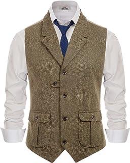 Men's Herringbone Tailored Collar Waistcoat Wool Tweed Suit Vest with Flap Pockets