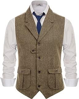 PJ PAUL JONES Men's Herringbone Tailored Collar Waistcoat Wool Tweed Suit Vest with Flap Pockets