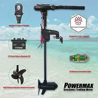SEAMAX 12V PowerMax 2HP Brushless Trolling Motor, Stepless Speed Control, 65 Pound Thrust, 35 Inch Shaft